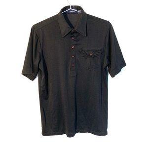 🔥VTG Givenchy Black Polo polyblend Disco Shirt 80
